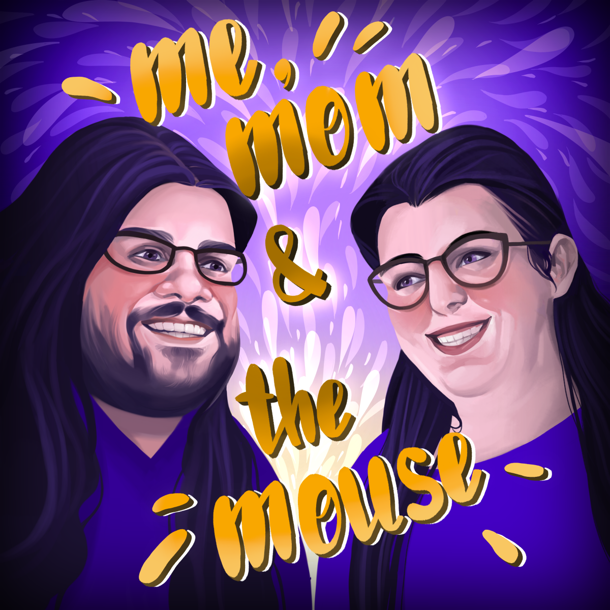 Me, Mom & The Mouse Main Cover Art - Isaac and Ruhe Coleman in a charicature style